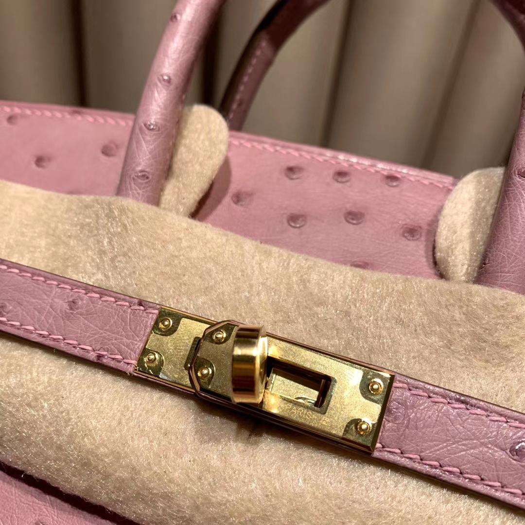 爱马仕包包批发 Birkin 25cm 南非鸵鸟 4W 紫藤色 金扣