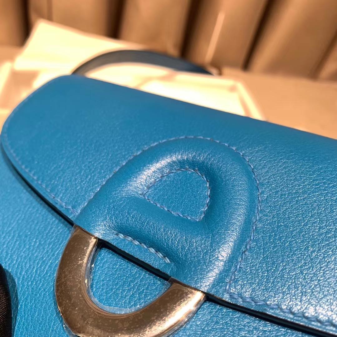 爱马仕包包 Cherche midi 20cm Evercolor 7W伊兹密尔蓝 银扣