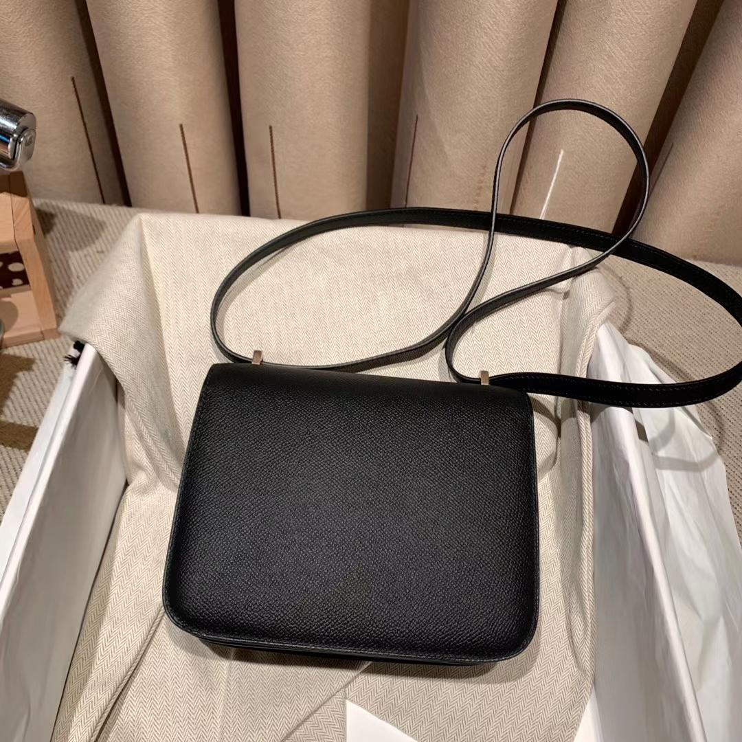 爱马仕包包 Constance 19cm 黑色 玫瑰金扣