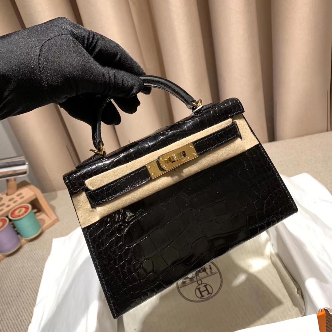 Hermes爱马仕 Mini Kelly II 亮面方块美洲鳄 89黑色 金扣