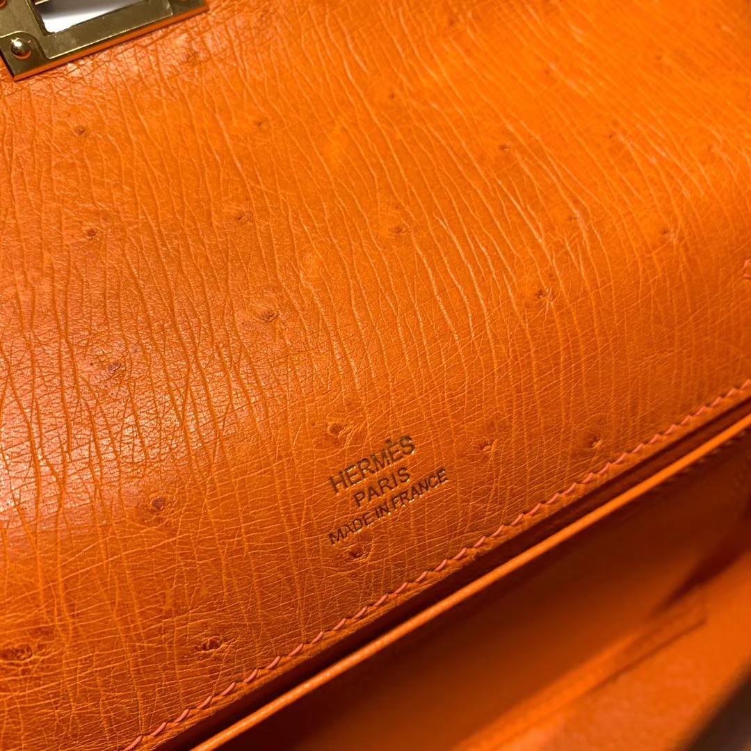 爱马仕包包 Mini Kelly II 南非鸵鸟 93橙色 金扣