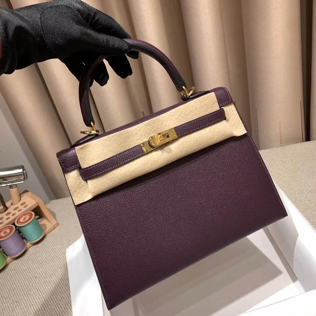 Hermes爱马仕 Kelly 25cm Epsom 葡萄紫 金扣