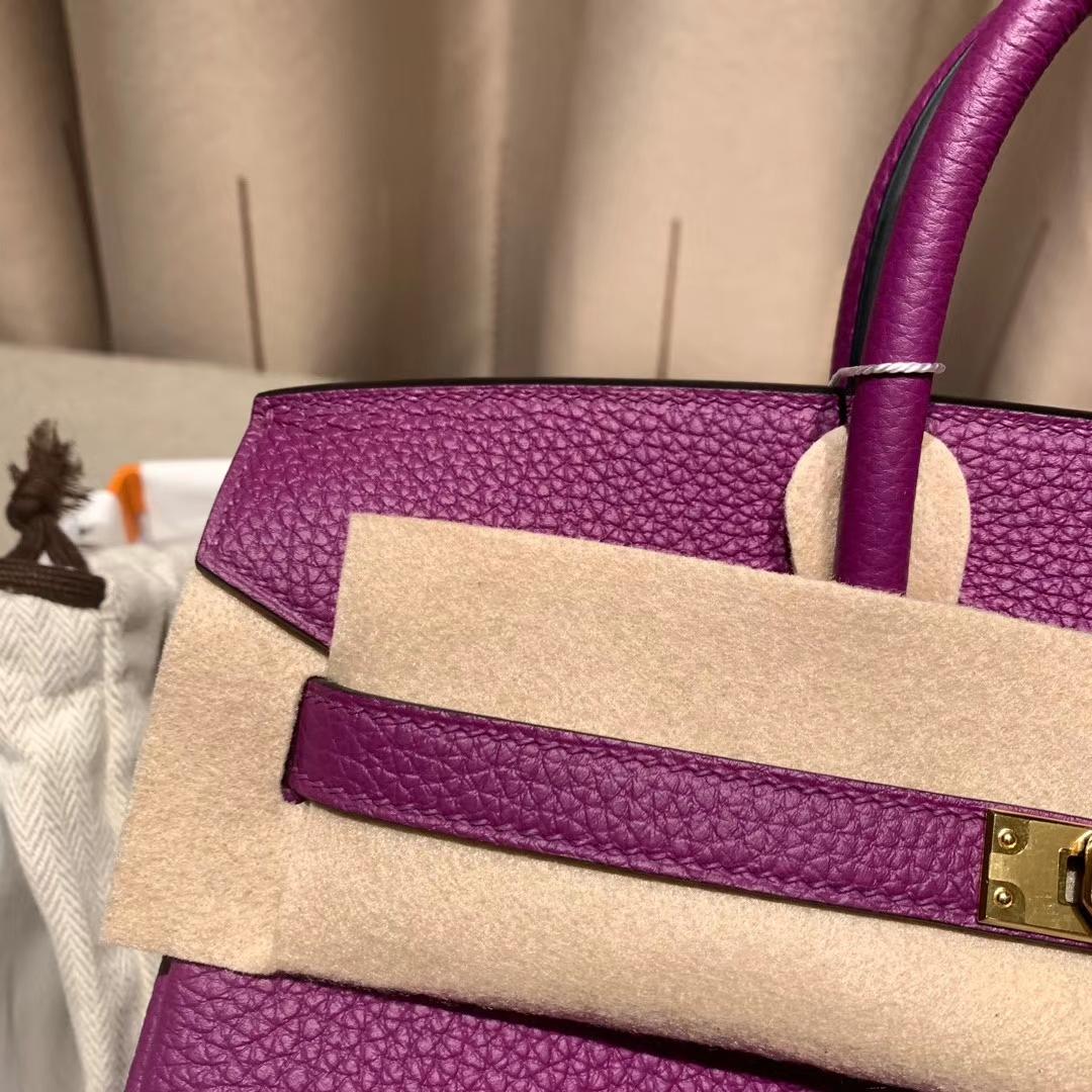 爱马仕铂金包 Birkin 30cm Togo 海葵紫 金扣 蜡线手缝