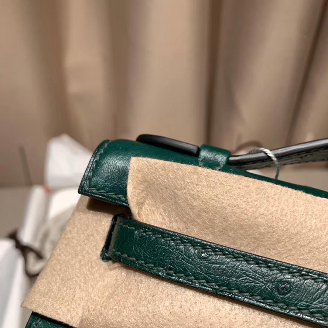 爱马仕包包 Mini Kelly一代 南非鸵鸟 Z6孔雀绿 金扣