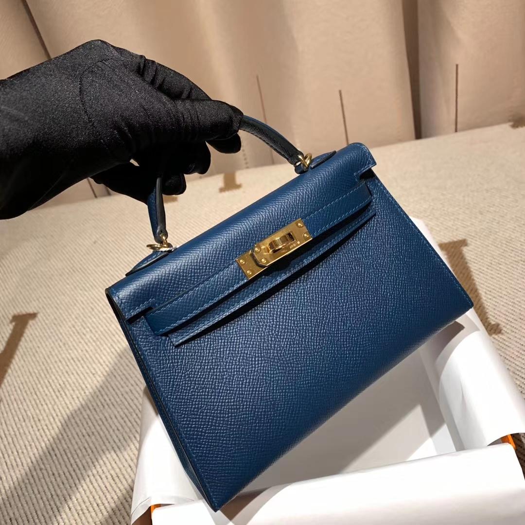 爱马仕包包官网 Mini Kelly二代 Epsom S4深邃蓝 金扣 蜡线手缝