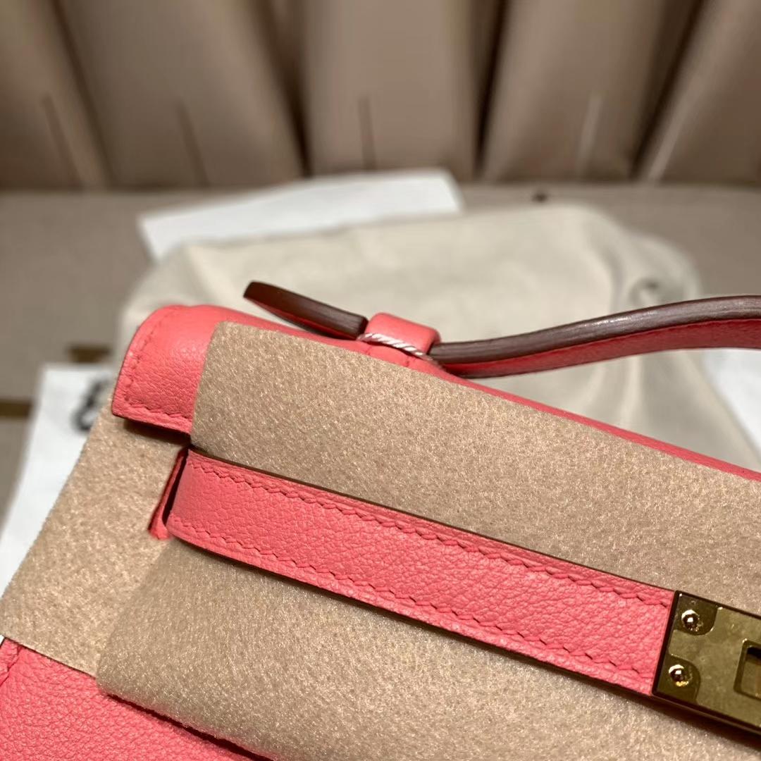 爱马仕包包 Mini Kelly一代 Evercolor K4夏日玫瑰粉 金扣