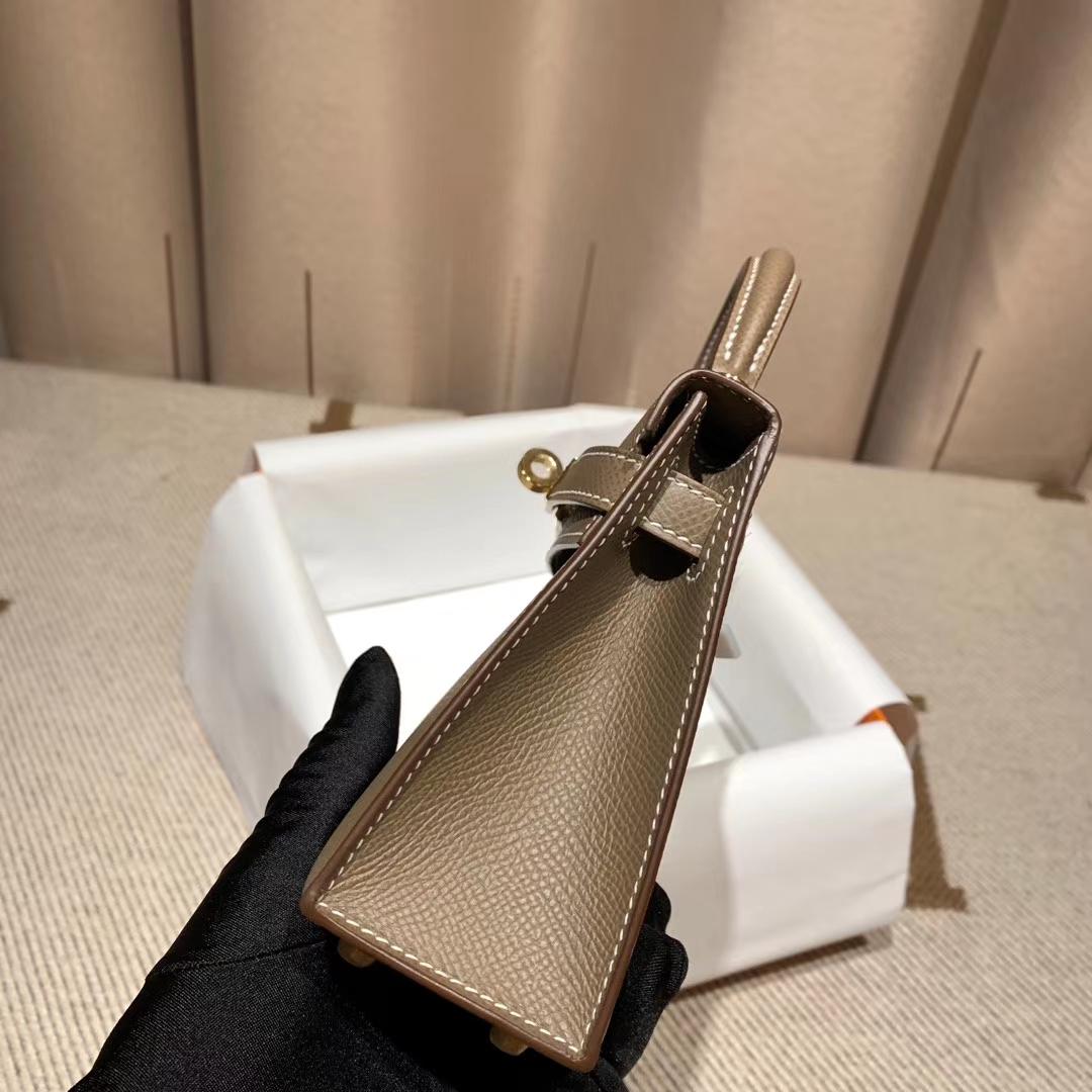 爱马仕包包官网 Mini Kelly二代 Epsom 18大象灰 金扣 蜡线手缝