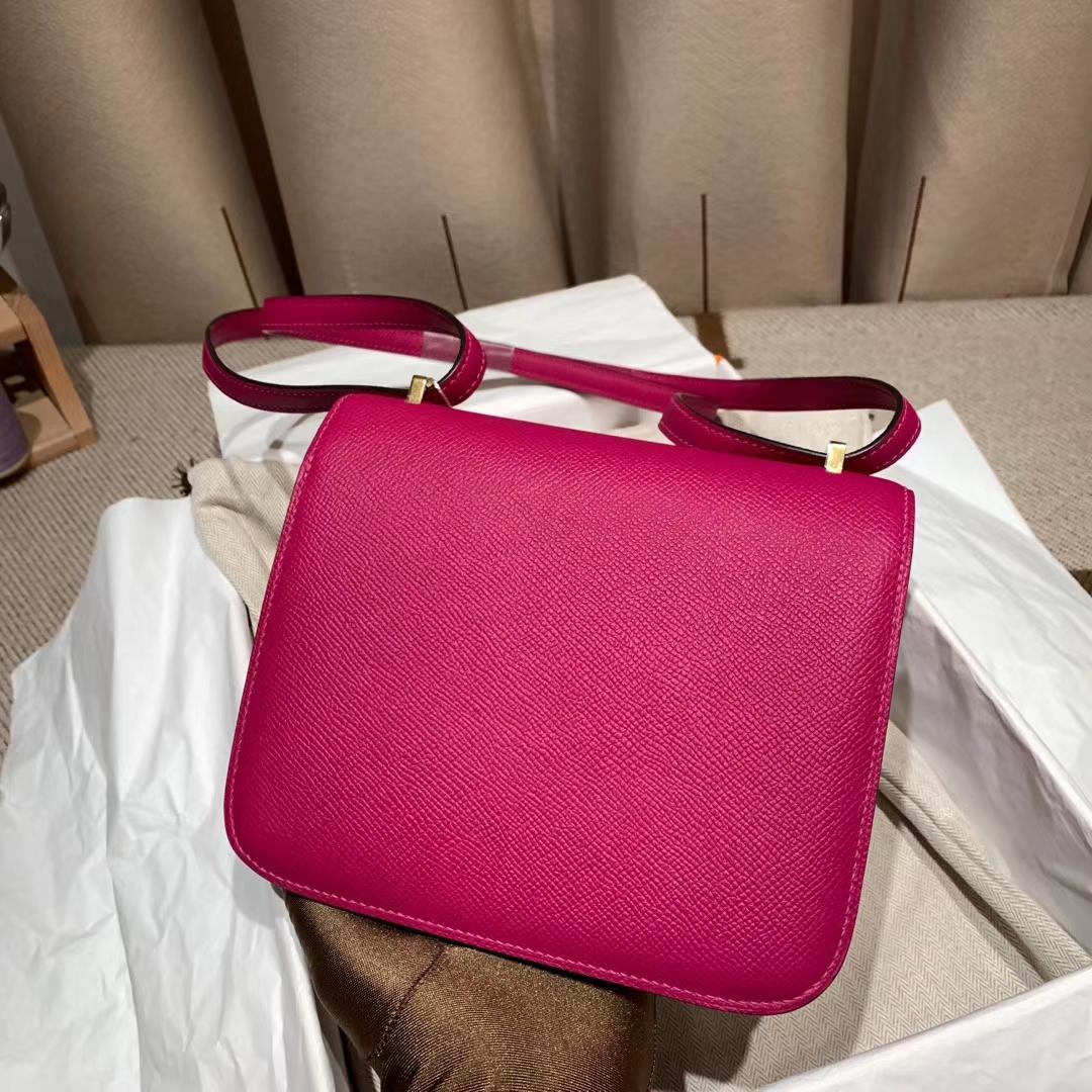 爱马仕官网 Constance 19cm Epsom L3玫瑰紫 金扣