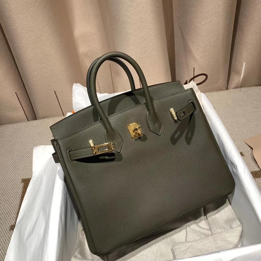 爱马仕铂金包 Birkin 30cm Togo G8丛林绿 金扣 蜡线手缝
