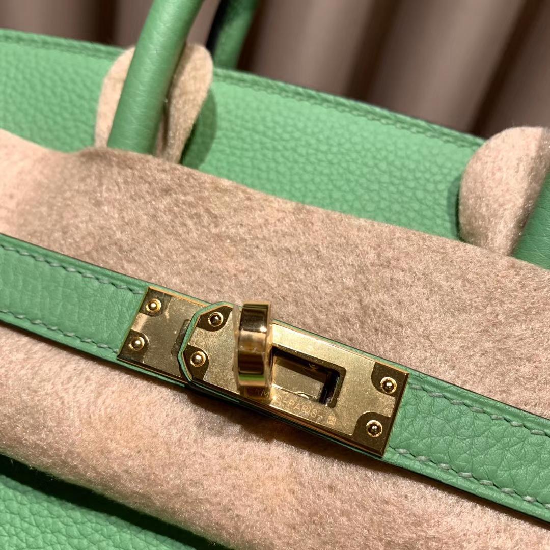 爱马仕铂金包 Birkin 25cm Togo 3I牛油果绿 金扣