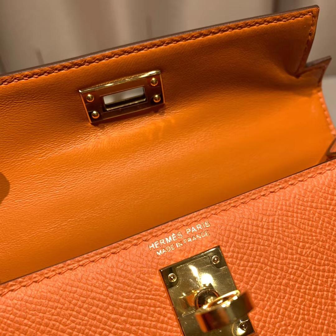 爱马仕包包官网 Mini Kelly二代 Epsom 93橙色 金扣 蜡线手缝