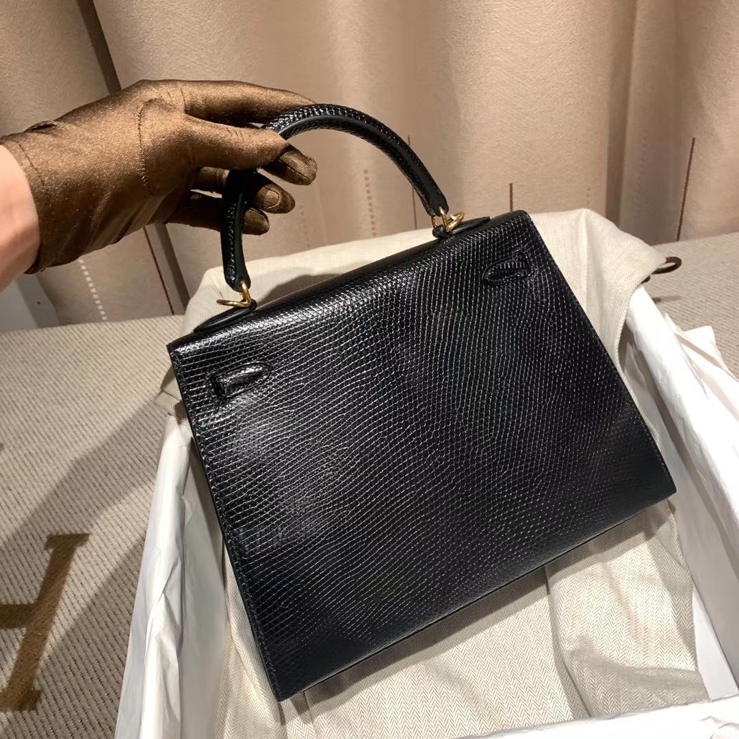 爱马仕官网 Kelly 25cm 蜥蜴皮 89黑色 金扣 蜡线手缝