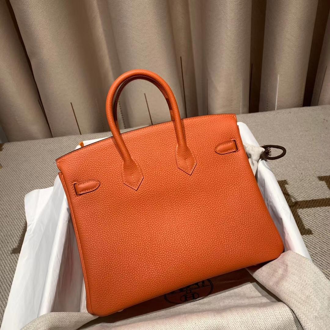 爱马仕铂金包 Birkin 30cm Togo R1红土色 金扣 蜡线手缝