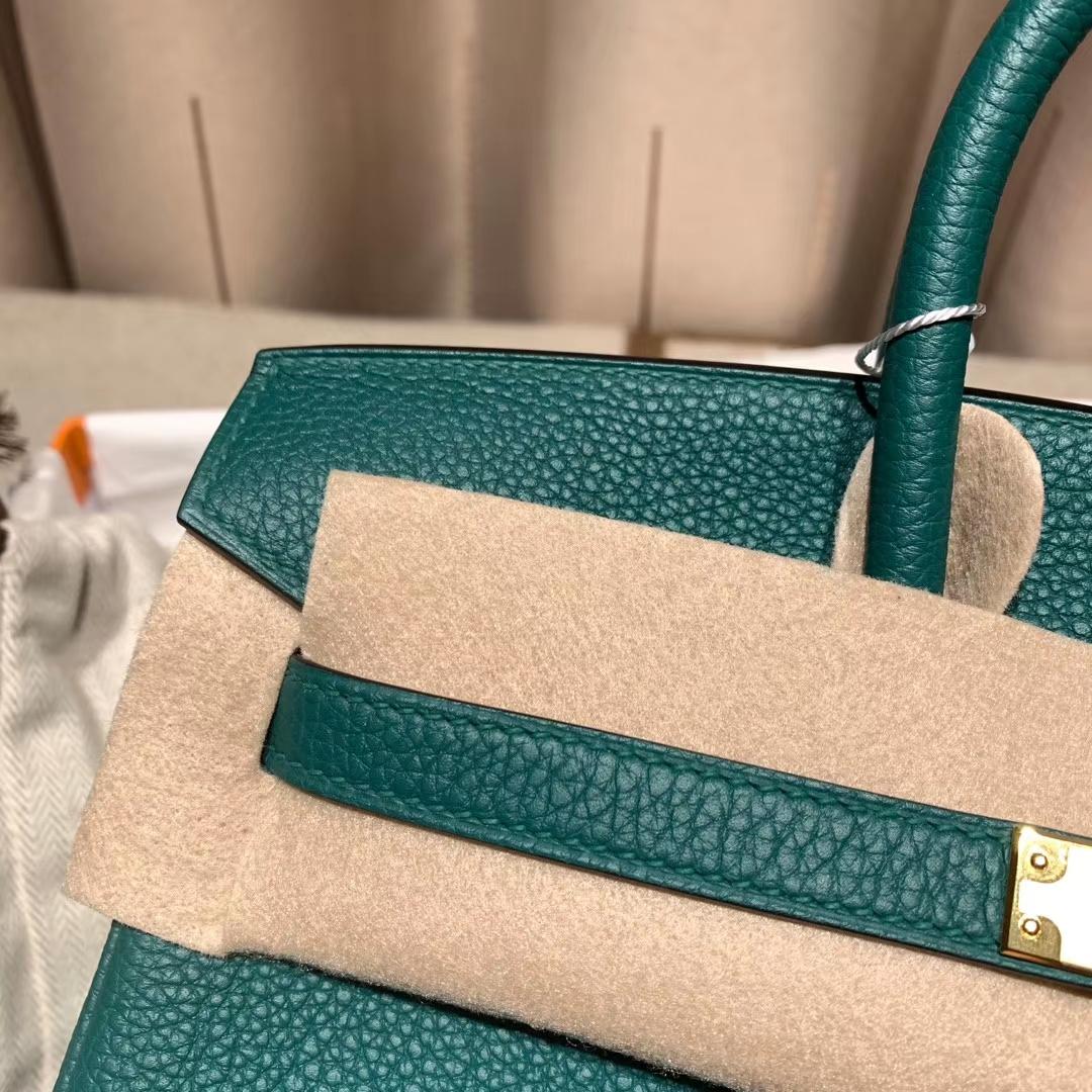 爱马仕铂金包 Birkin 30cm Togo 丝绒绿 金扣 蜡线手缝