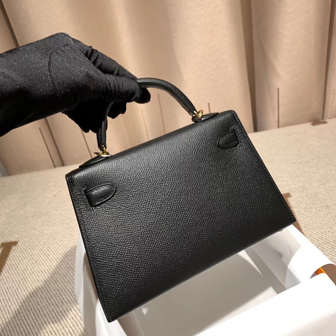 爱马仕包包官网 Mini Kelly二代 Epsom 89黑色 金扣 蜡线手缝