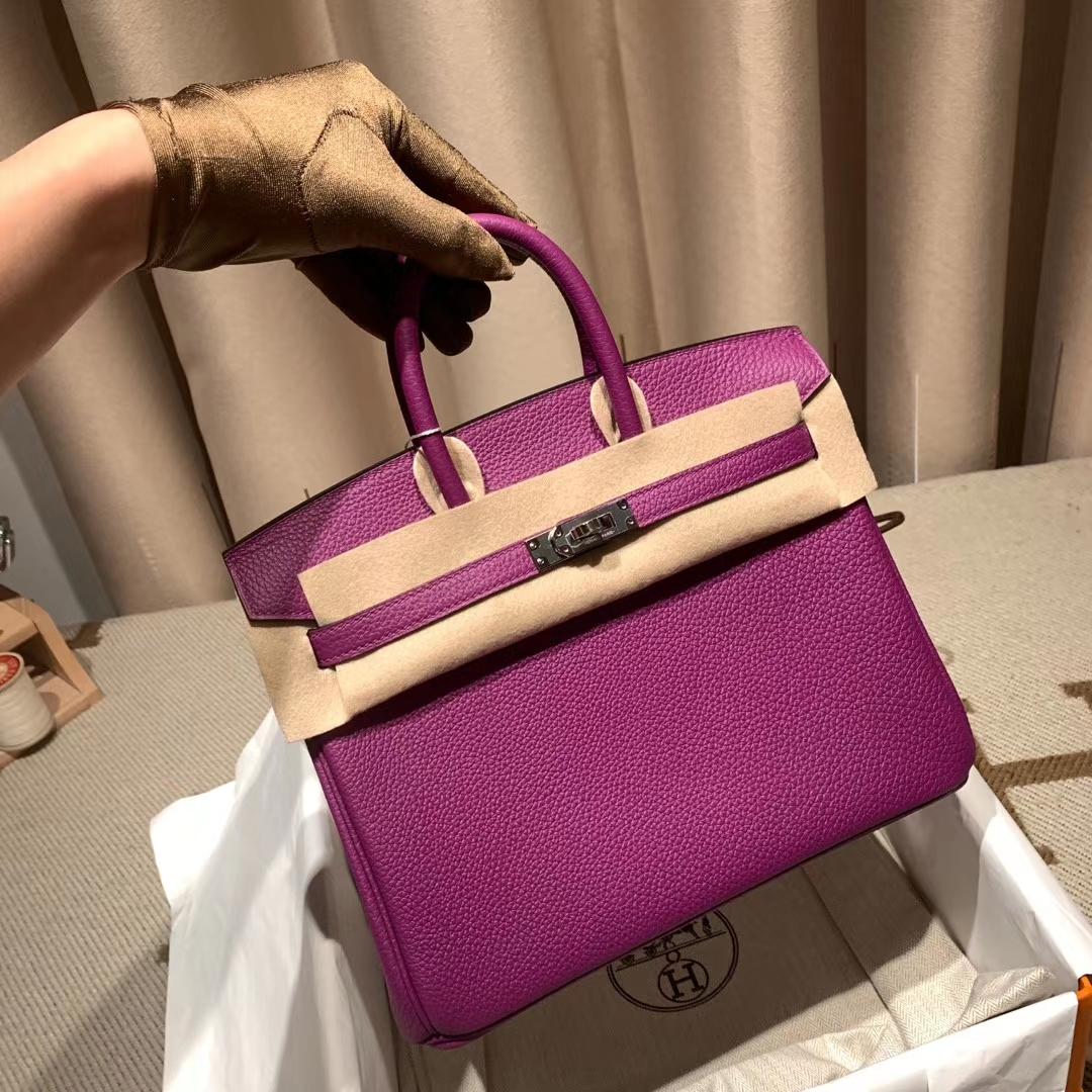 爱马仕铂金包 Birkin 30cm Togo 海葵紫 银扣 蜡线手缝
