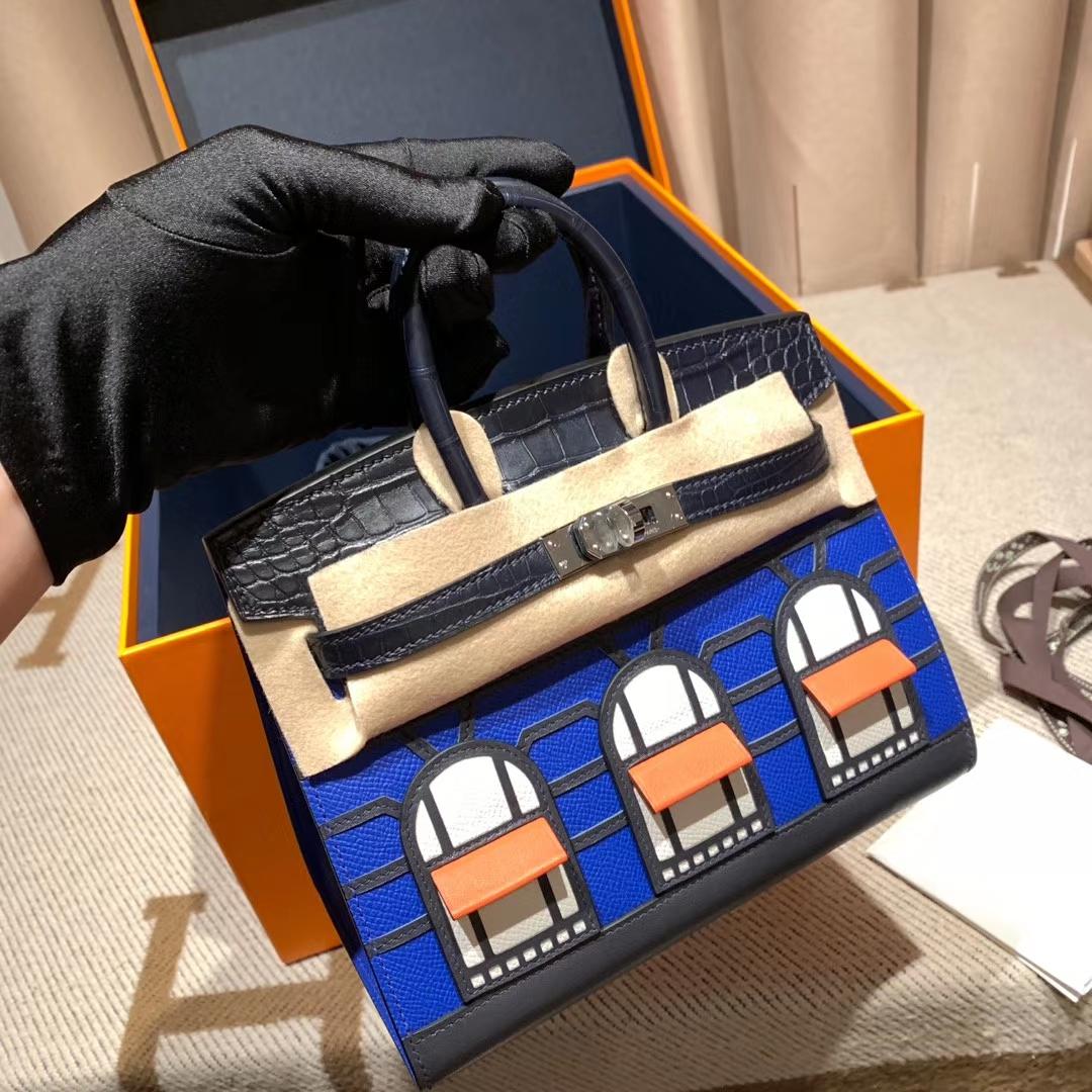 爱马仕包包官网 Birkin Sellier 20cm Mademe/Swift/MAT方块鳄鱼 3种皮质拼而成 超级限量