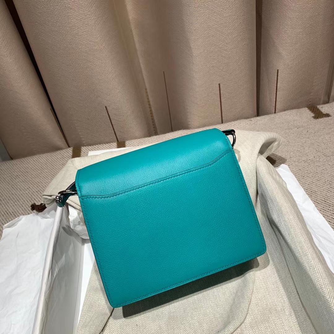 爱马仕包包 Roulis Mini 19cm Evercolor U1维罗纳绿 银扣