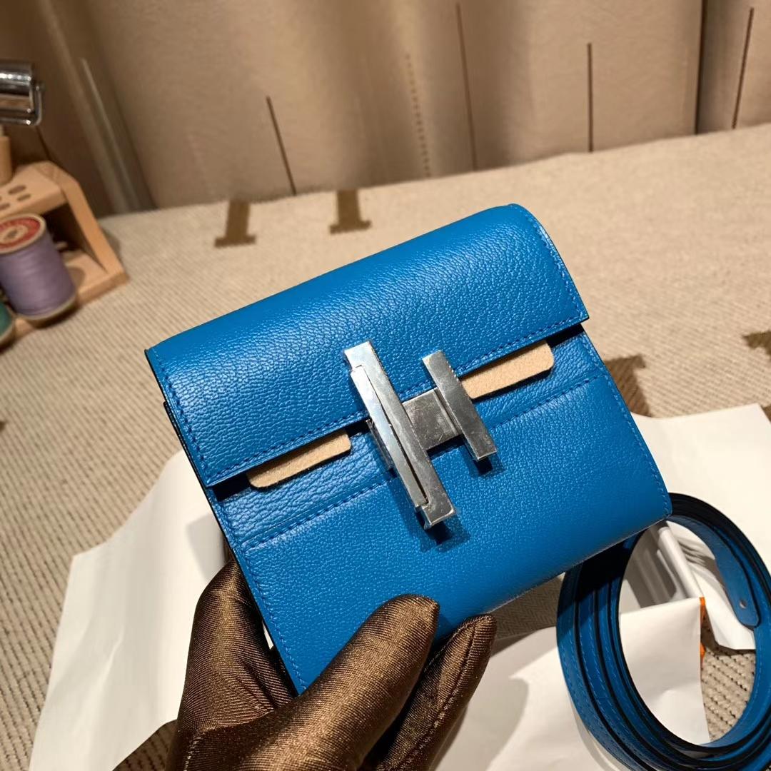 Hermes爱马仕 Minhetic Mini钱包 Cherche山羊皮 B3坦桑尼亚蓝 银扣 可加肩带斜跨