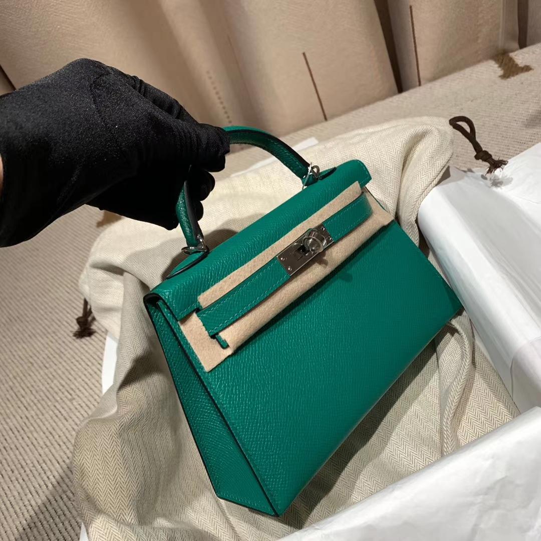 爱马仕包包官网 Mini Kelly 19cm Epsom U4丝绒绿 银扣