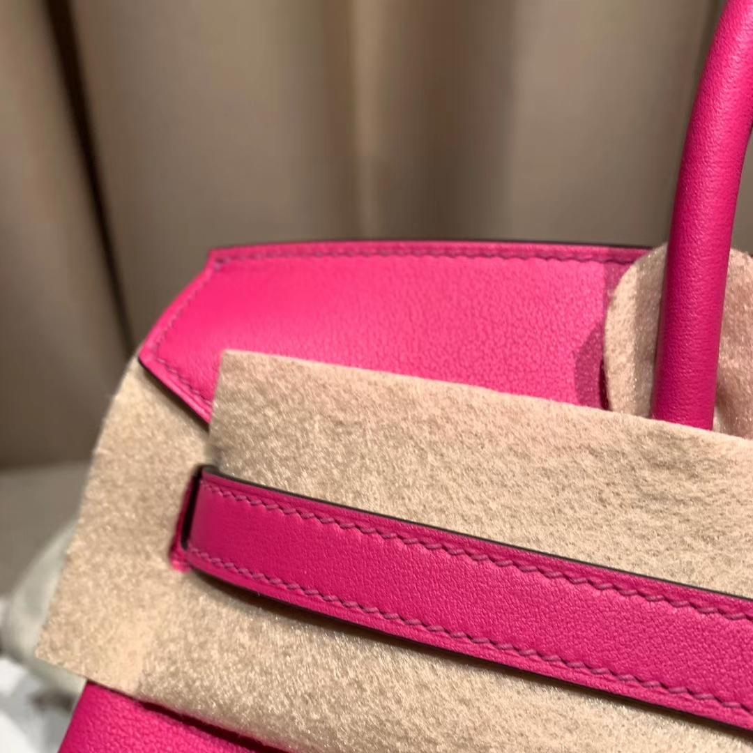爱马仕包包 Birkin 25cm Swift L3玫瑰紫 金扣