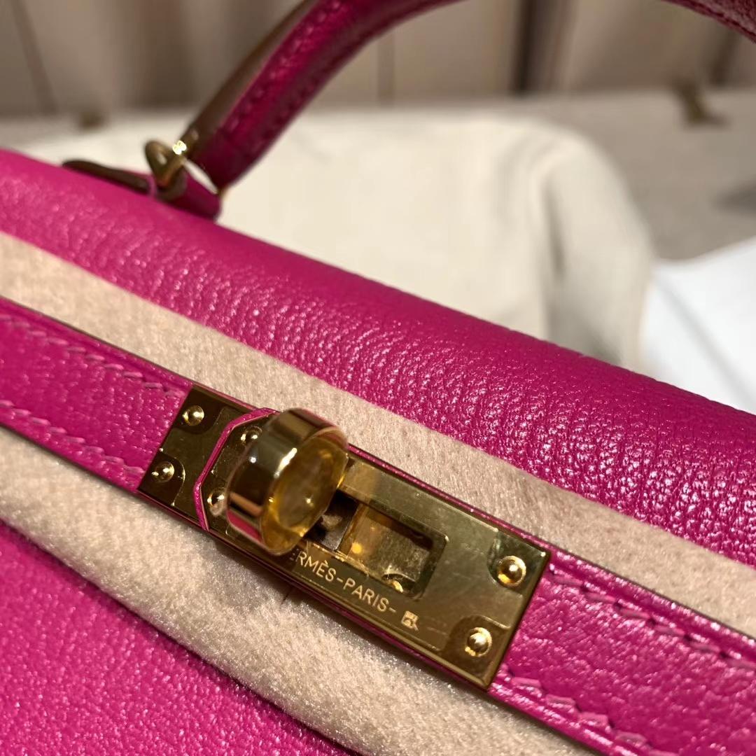 爱马仕包包官网 Mini Kelly 19cm Chevre山羊皮 L3玫瑰紫 金扣