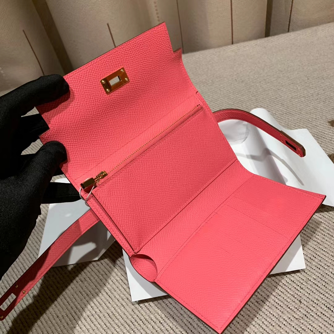 Hermes爱马仕 Kelly Compacr Waller Epsom 8W唇膏粉 金扣 小版的Kelly钱包