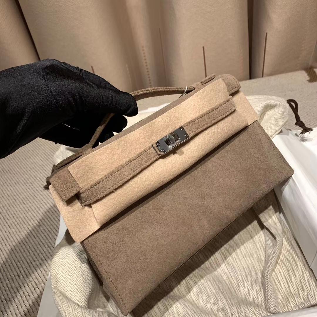 爱马仕包包官网 Mini Kelly一代 22cm Doblis Suede麂皮 81斑鸠灰 银扣