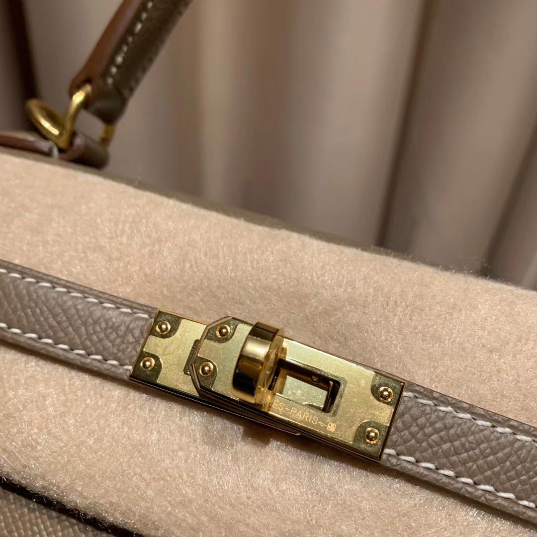 Hermes爱马仕包包 Kelly 25cm Epsom 18大象灰 金扣