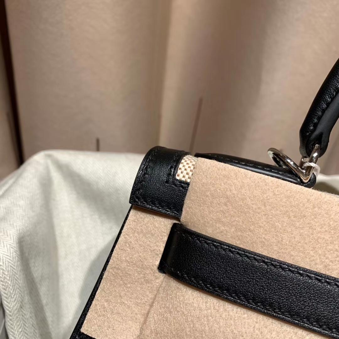 Hermes爱马仕 Kelly 28cm Swift/Toile H 89黑色 银扣 2020最美帆布系列