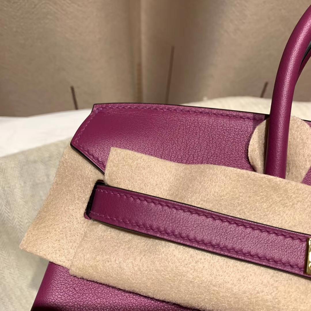 爱马仕包包 Birkin 25cm Swift P9海葵紫 金扣