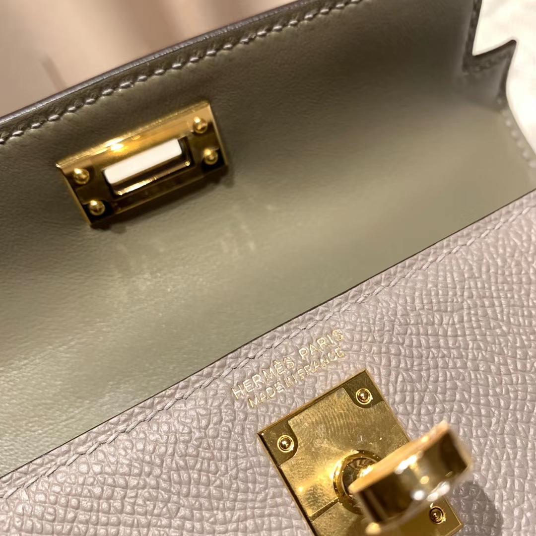 爱马仕包包官网 Mini Kelly 19cm Epsom M8沥青灰 金扣