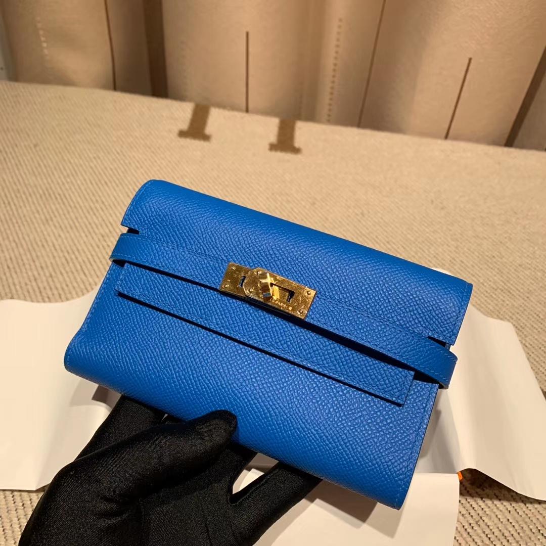 Hermes爱马仕 Kelly Compacr Waller Epsom B3坦桑利亚蓝 金扣 小版的Kelly钱包