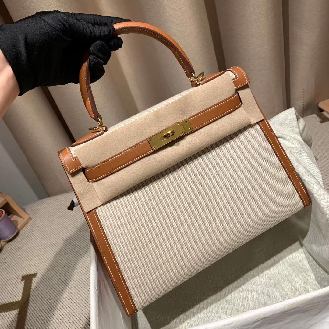 Hermes爱马仕 Kelly 28cm Swift/Toile H 37金棕 金扣 2020最美帆布系列