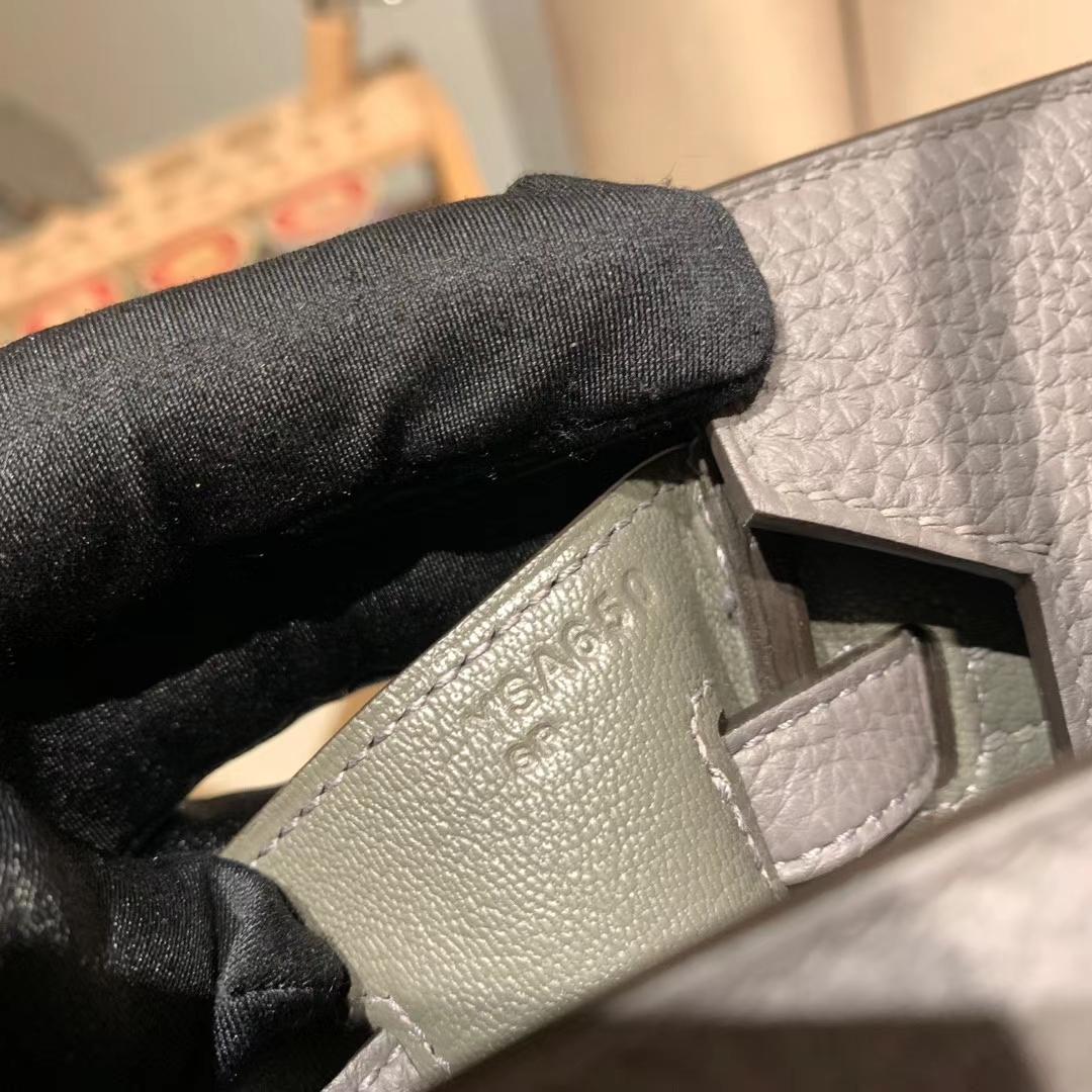 爱马仕官网 Birkin 25cm Togo 8F锡器灰 金扣 蜡线手缝