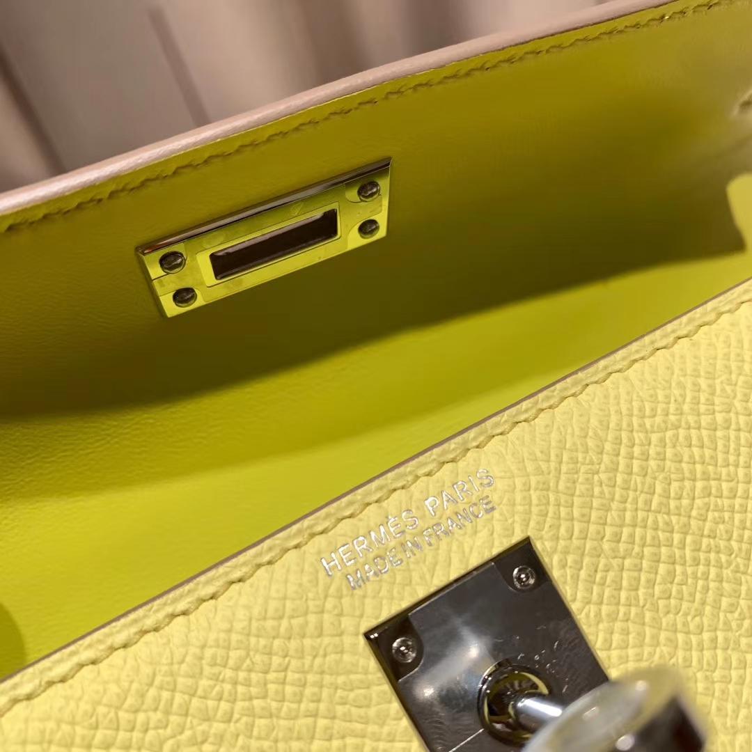 爱马仕包包官网 Mini Kelly 19cm Epsom 9R柠檬黄 银扣