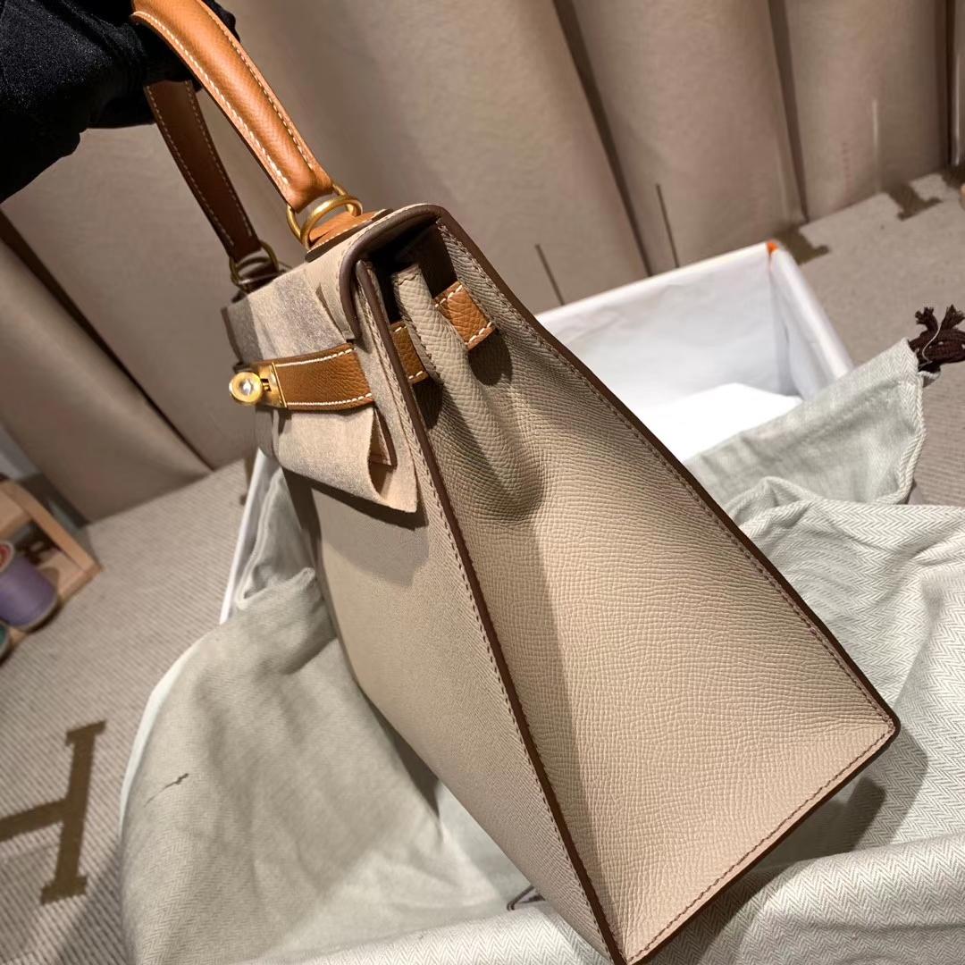 Hermes爱马仕 Kelly 28cm Epsom S2风衣灰拼37金棕 金扣