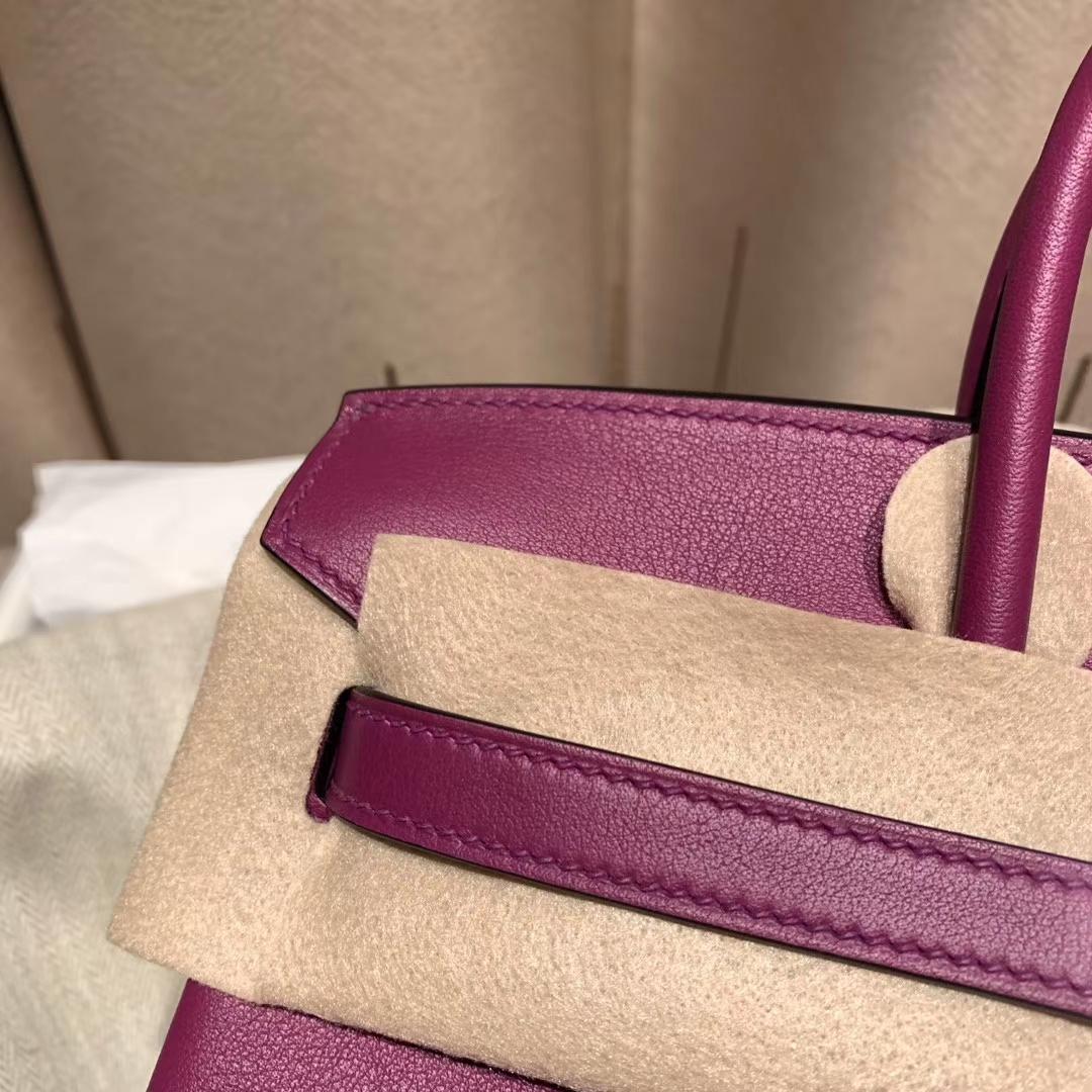 爱马仕包包 Birkin 25cm Swift P9海葵紫 银扣