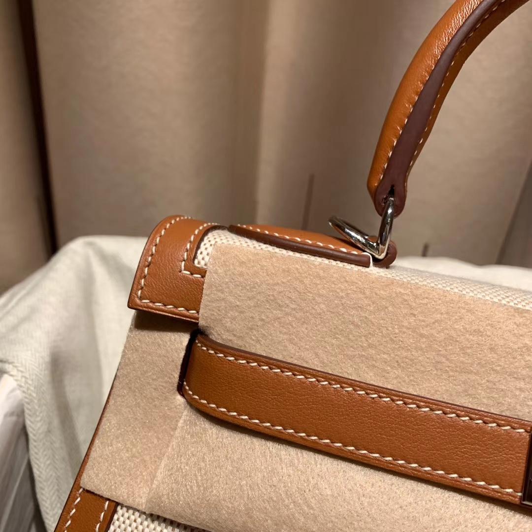 Hermes爱马仕 Kelly 28cm Swift/Toile H 37金棕 银扣 2020最美帆布系列