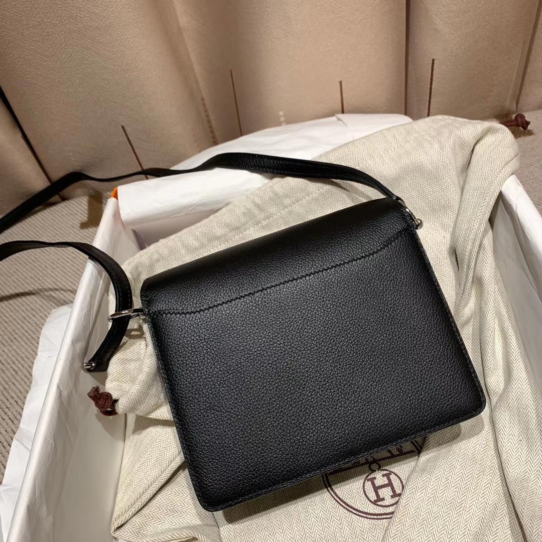 爱马仕官网 Roulis 19cm Evercolor 89黑色 银扣