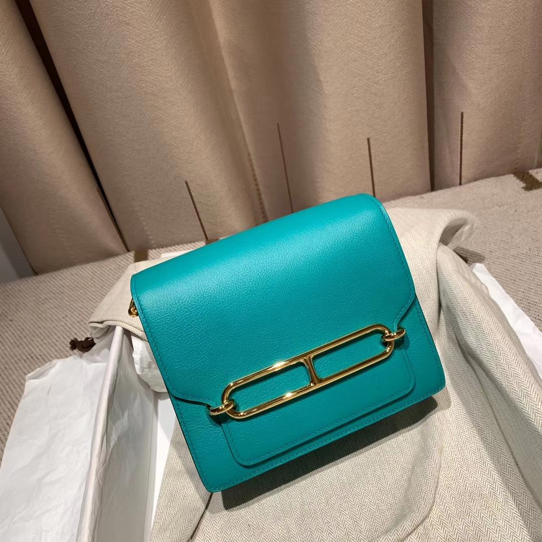 爱马仕包包 Roulis Mini 19cm Evercolor U1维罗纳绿 金扣