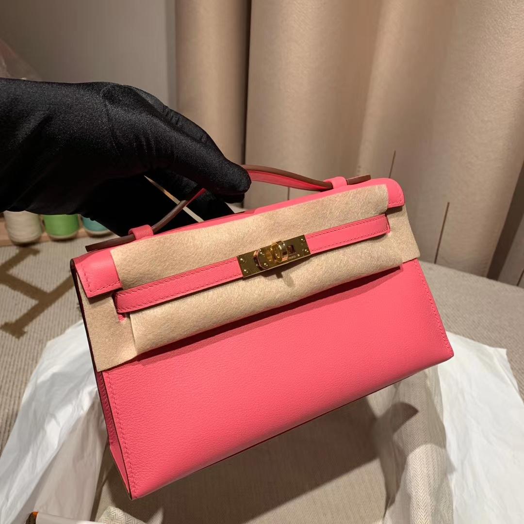 Hermes爱马仕包包 Mini Kelly Pochette 22cm Swift 8W唇膏粉 金扣