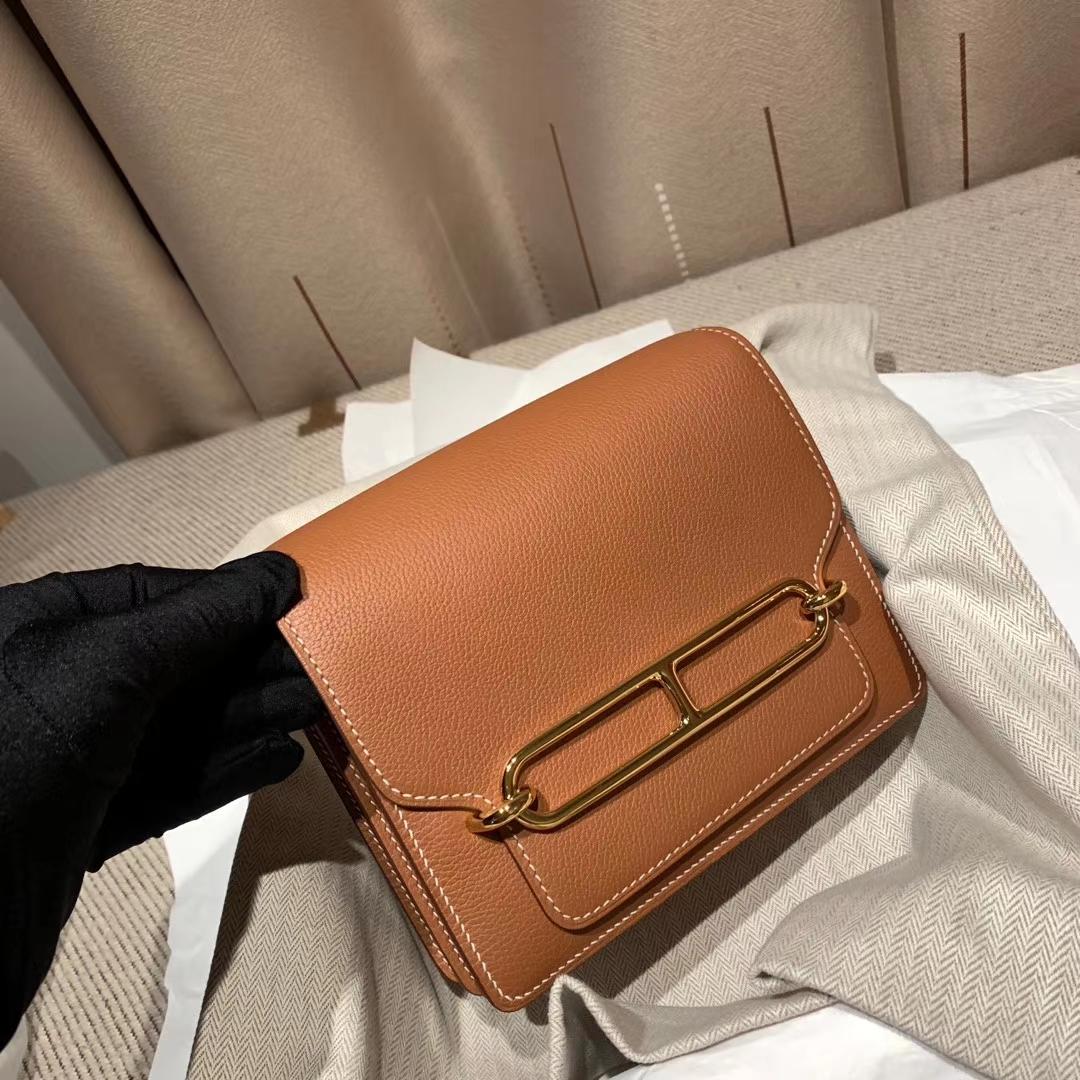 Hermes爱马仕 Roulis 19cm Evercolor 37金棕 金扣