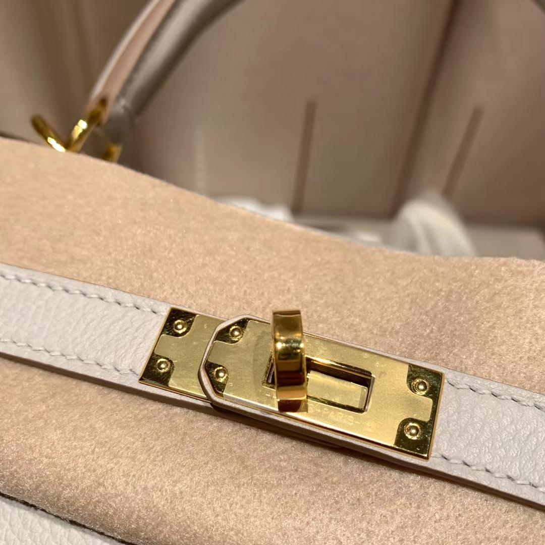 爱马仕官网 Kelly 25cm Evercolor 80珍珠灰 金扣