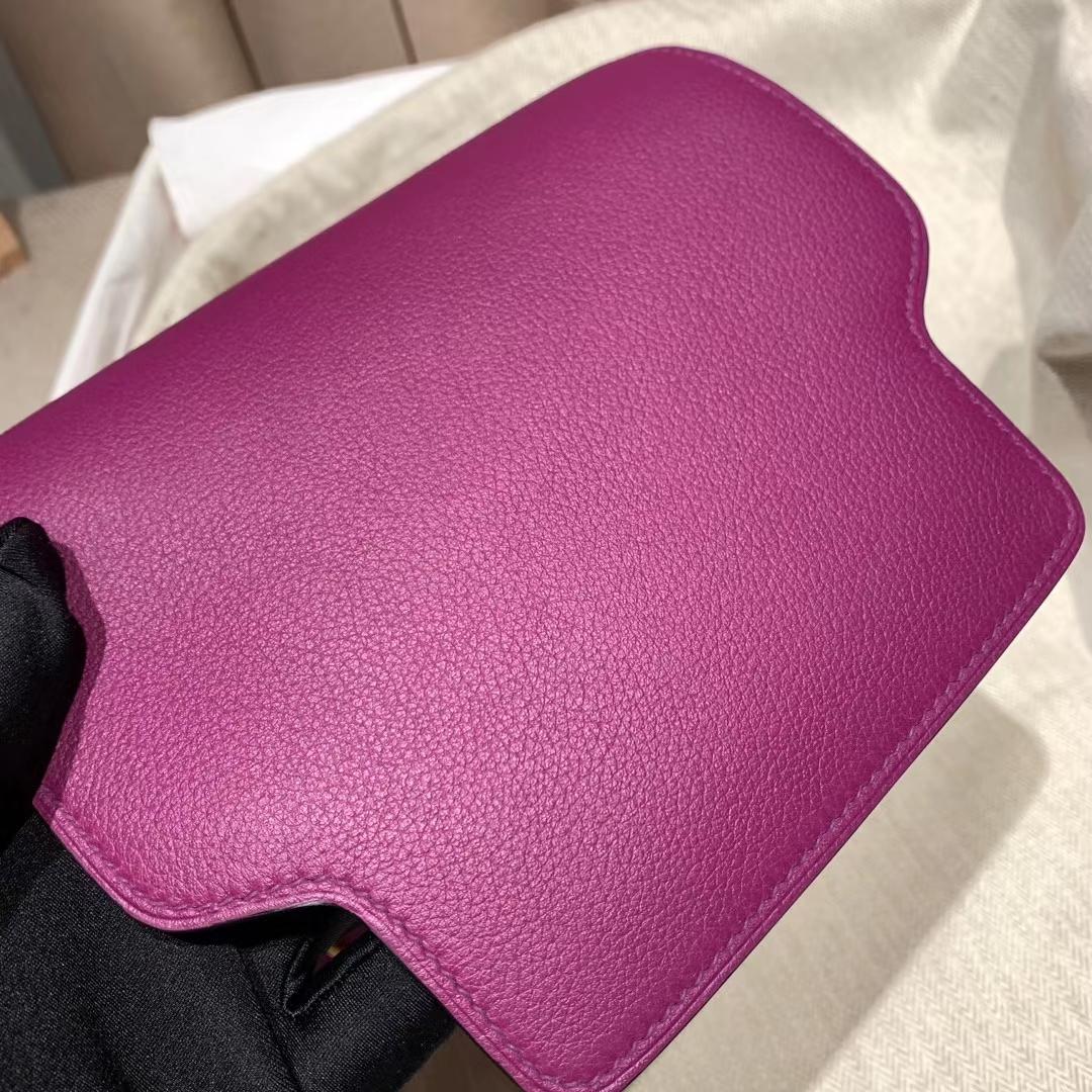 爱马仕官网 Roulis 19cm Evercolor P9海葵紫 金扣 蜡线手缝