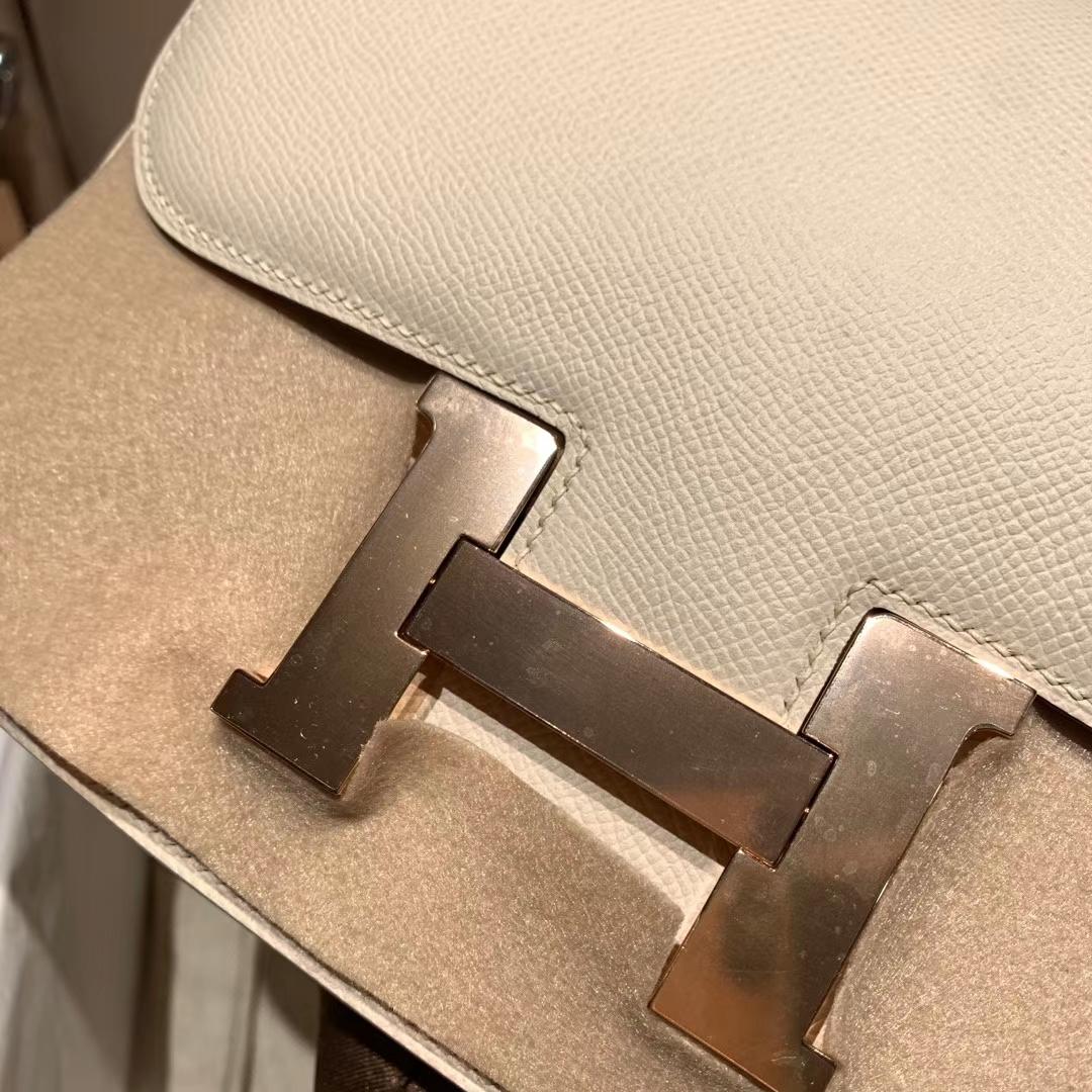 Hermes爱马仕 Constance 24cm Epsom 2I奶油白 玫瑰金扣