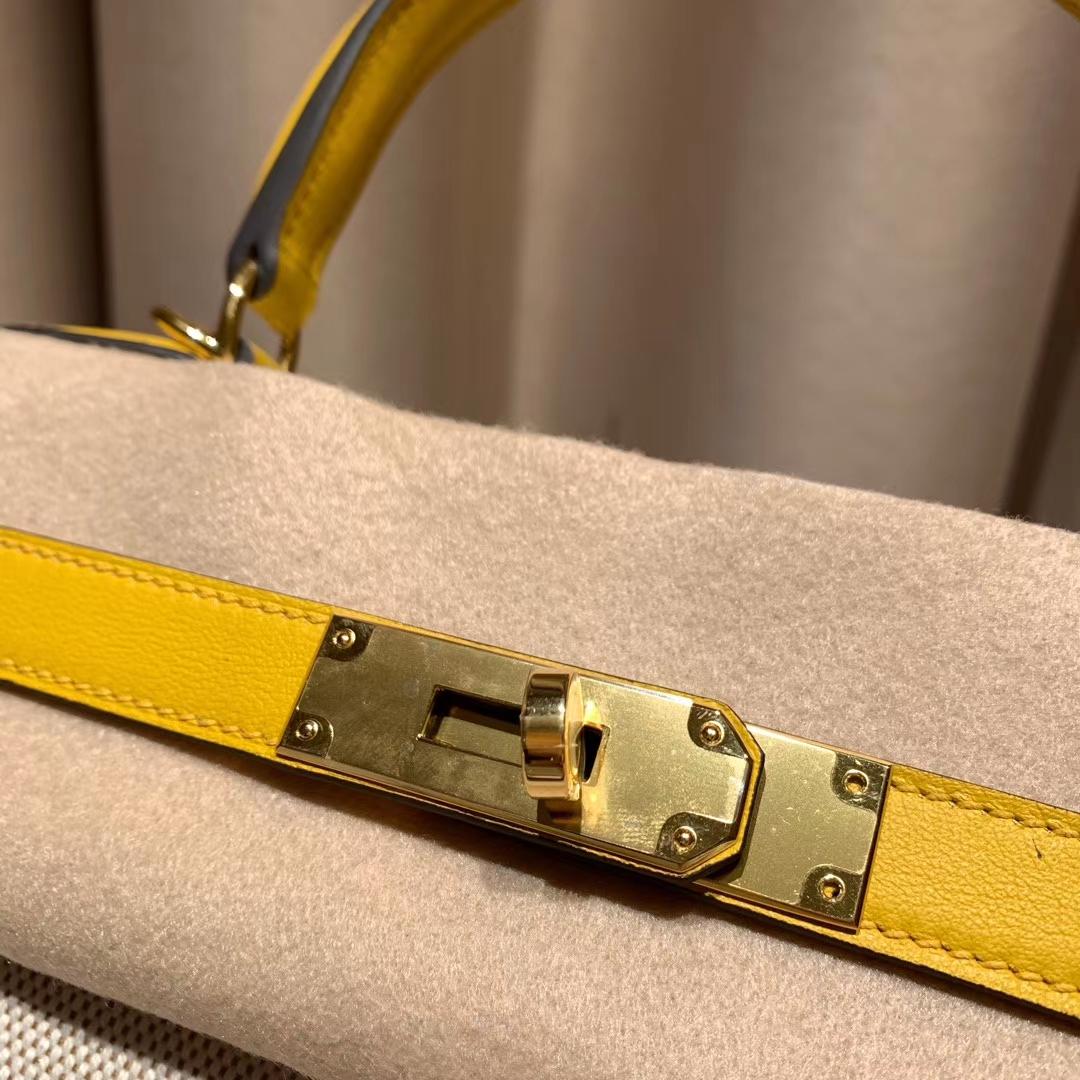Hermes爱马仕 Kelly 28cm Swift/Toile H 9D琥珀黄 金扣 2020最美帆布系列