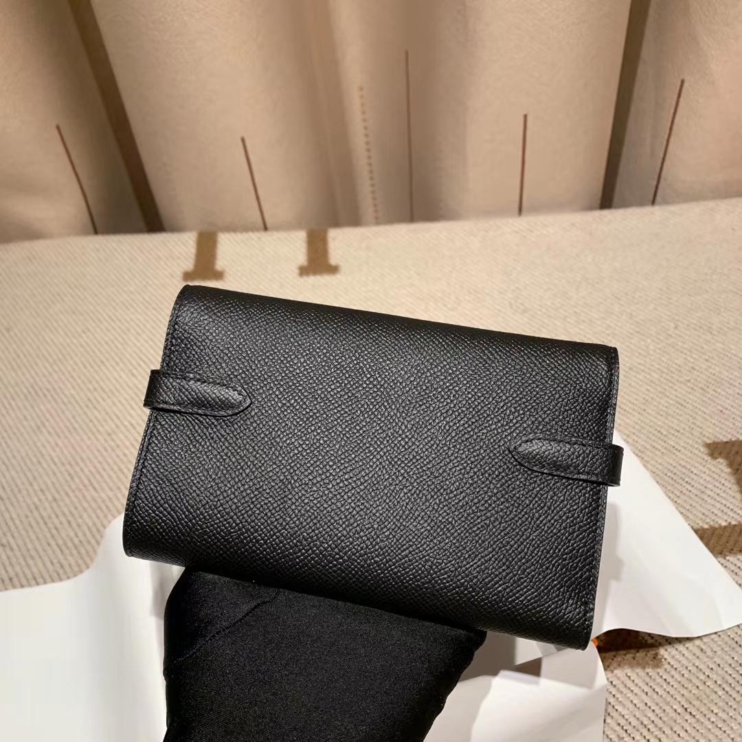 Hermes爱马仕 Kelly Compacr Waller Epsom 89黑色 银扣 小版的Kelly钱包