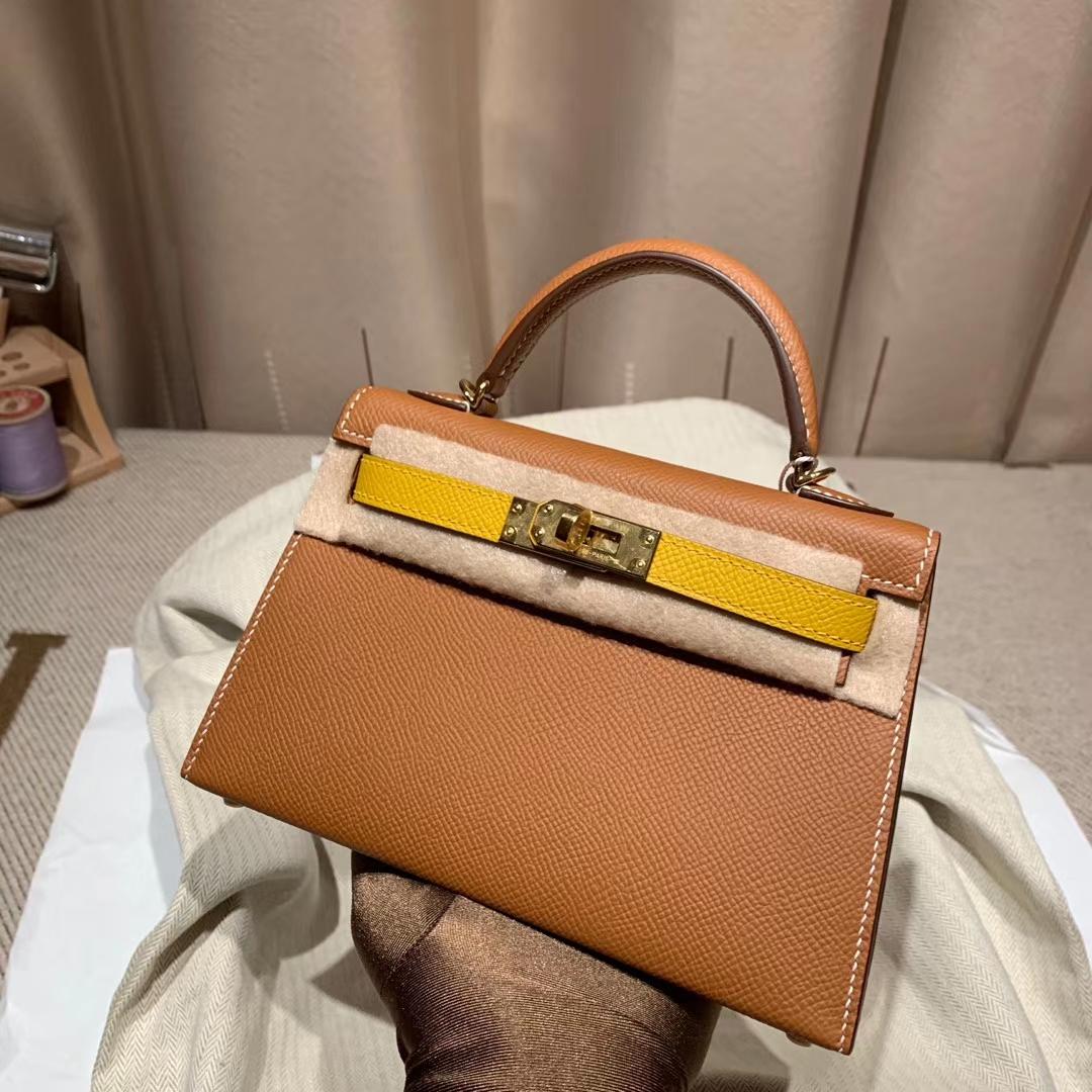 爱马仕Hermes Mini Kelly二代 Epsom 37金棕拼9D琥珀黄 金扣