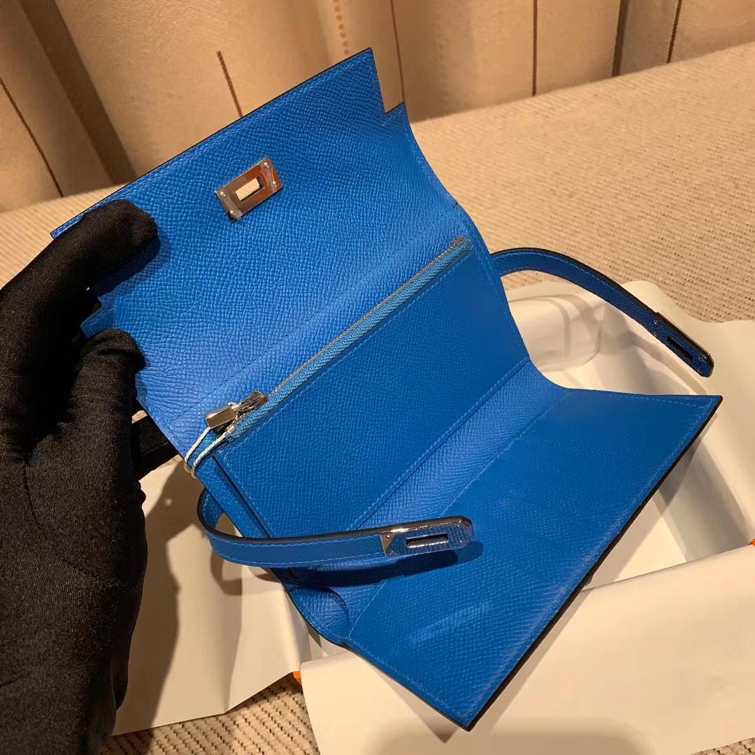 Hermes爱马仕 Kelly Compacr Waller Epsom B3坦桑利亚蓝 银扣 小版的Kelly钱包